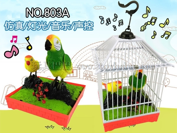 Manufacturer direct selling villa type simulation light music voice controlled bird cage electric voice controlled bird