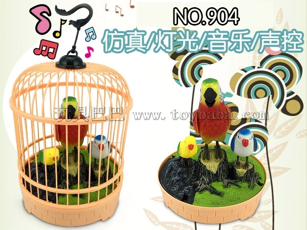 Manufacturer direct selling dome simulation light music voice controlled bird cage electric voice controlled bird hot se