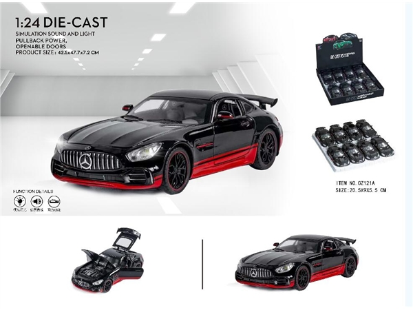 1: 24 Mercedes Benz GTR Black Knight Special Edition (8 pcs in a box and 9 boxes in a box)