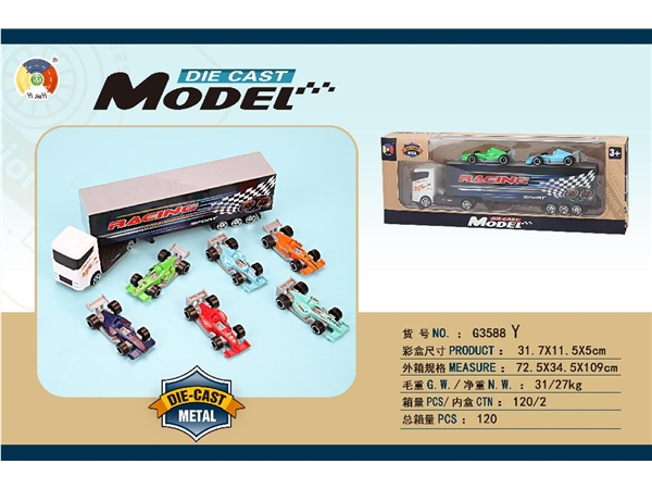 Alloy simulation series container is equipped with 2 alloy F1 cars (window box)