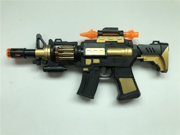 Electric runner light voice vibration submachine gun (gold version)