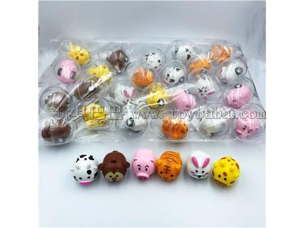 Eggshell toys six small animals