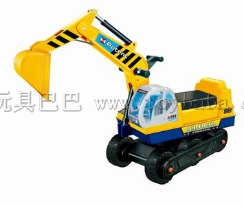 By using the excavator