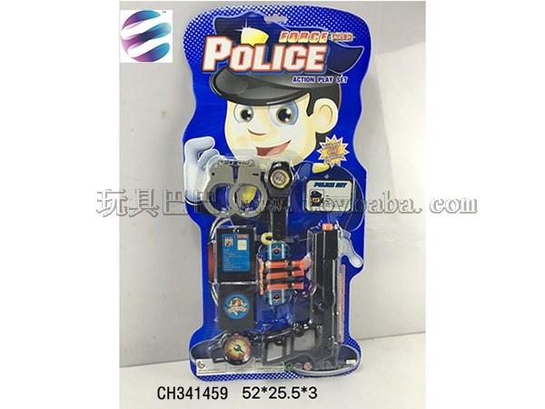 Police suit toys, simulation handcuffs, toy guns and other combined model toys