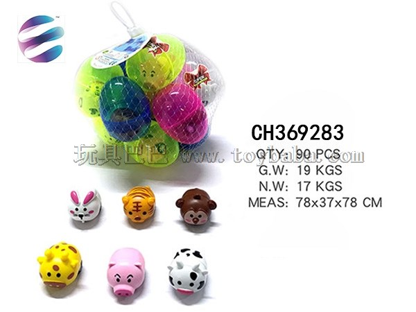 Translucent funny eggshell back to cartoon animals in 12 egg net bags