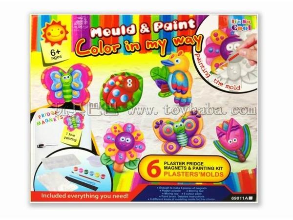 Creative DIY craft gypsum painted toys refrigerator - garden