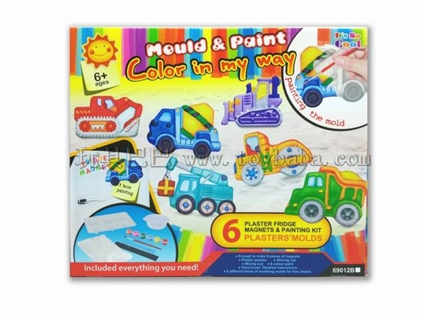 Creative DIY craft gypsum toy refrigerator - coloured drawing or pattern the truck