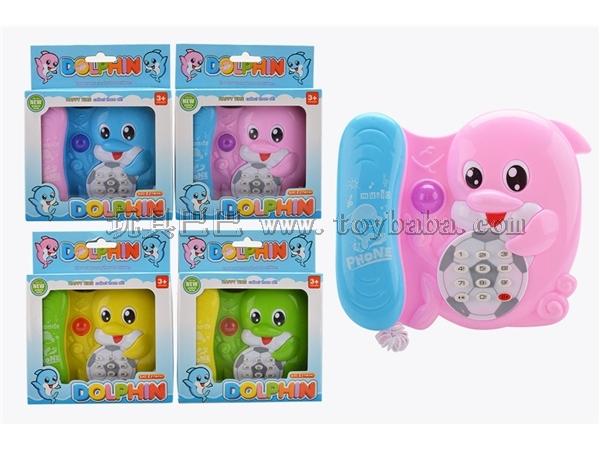 Cartoon phone dolphin music lights (green, yellow, pink, pink blue, orange)