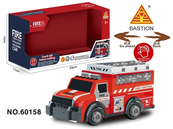 Intelligent touch fire truck with light and music 3AA package
