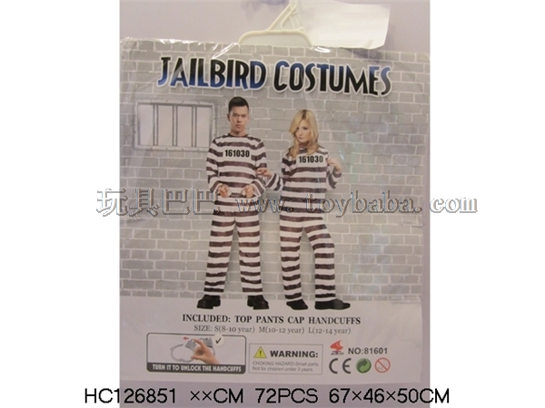 Card head bag with handcuffs prisoner's clothing