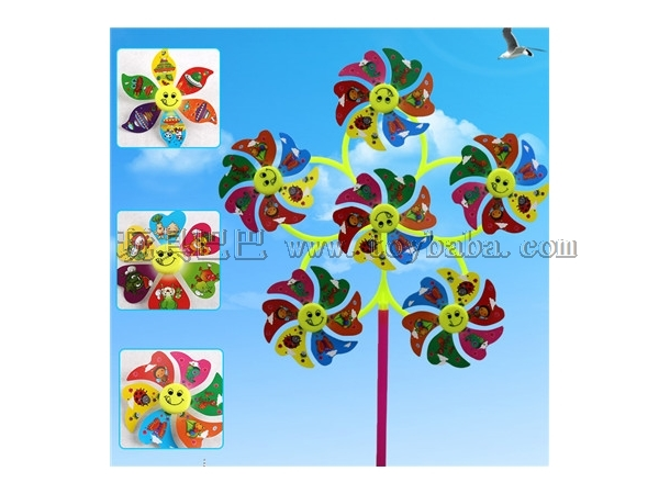 Six leaf windmill smiling face cartoon windmill toy stall hot sales wholesale factory direct sales