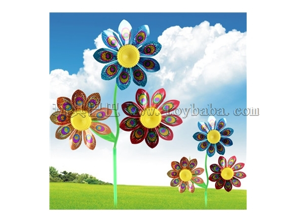 New three flower Sequin windmill children's outdoor hot toys wholesale