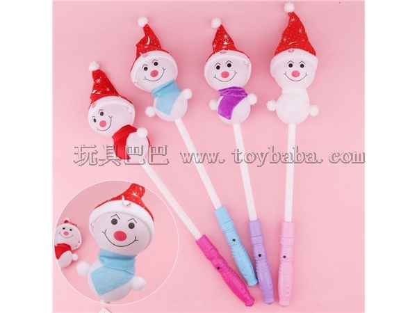 New Christmas luminous Snowman stick colorful Santa flash stick children's small toy gift stall night market