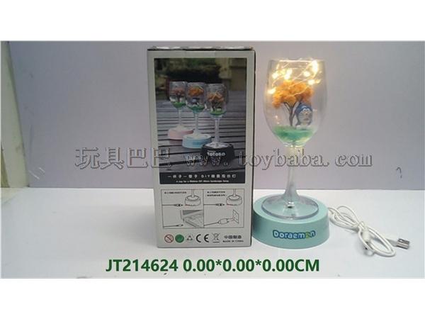 Single warm color light · rechargeable table lamp - micro landscape DIY table lamp cup / jingle cat