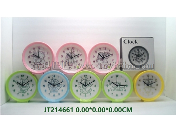Pearl round 8 large cartoon silent alarm clock (16 small models in total for each 2 colors)