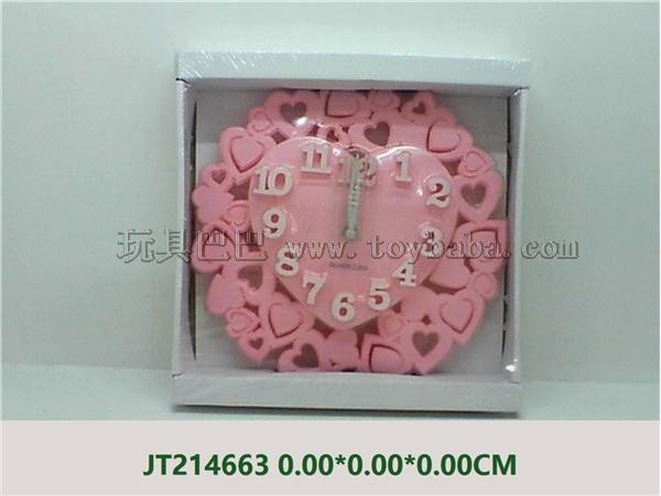 Peach heart three-dimensional digital wall clock