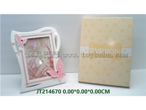 Seven inch Pink Diamond Butterfly friendship photo frame (four matte clear colors: blue, yellow, pink and green)