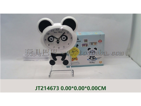 Cartoon panda swing iron stand clock