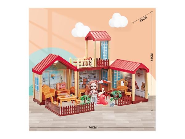 Girl's house toy set lighting villa simulation