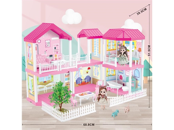 Self installed villa + 6-inch Barbie 2 family toys self installed educational toys