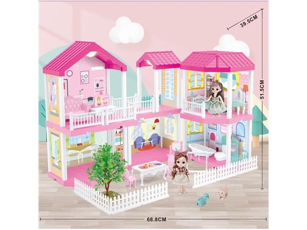 Self installed villa with light + 6-inch Barbie 2 family toys self installed educational toys
