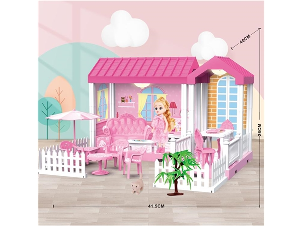 Self installed villa with light + 6-inch Barbie 1 family toy self installed educational toy