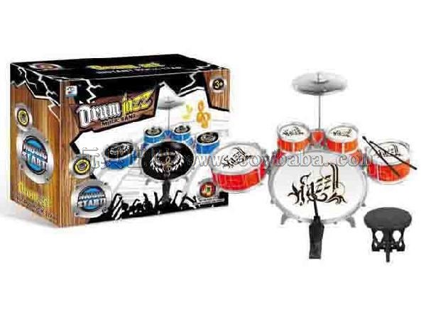 Spray painted jazz drum with chair boy musical instrument toy