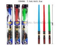 伸缩太空剑带灯光声音 红蓝绿3色混装 包电