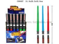 伸缩太空剑带灯光声音 红蓝绿3色混装 包电 每展示盒24支