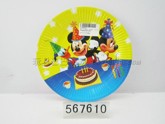 9 inches birthday mickey plate / 12 PCS