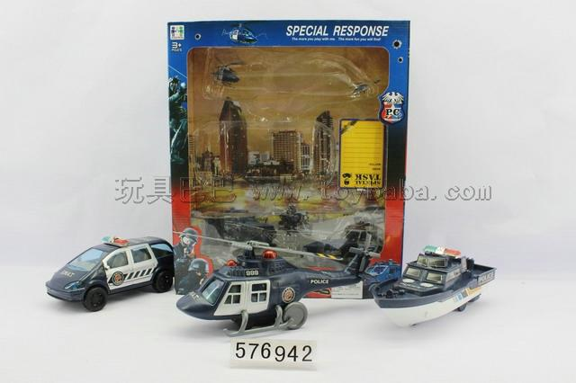 Inertial anti-terrorist police set/helicopter, commercial vehicles, a great ship