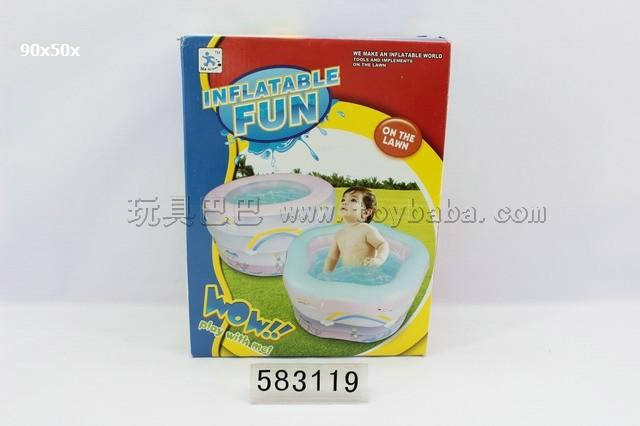 Inflatable two wing pool