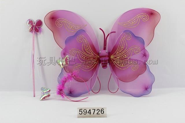 Double butterfly wings + stick + angel hair