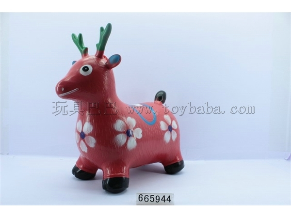 Coloured drawing or pattern inflatable jumping deer with music IC (bag)