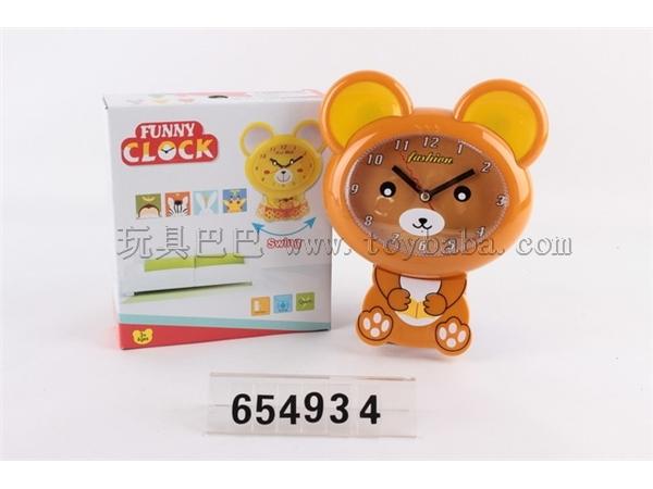 Cartoon relaxed bear swing small wall clock