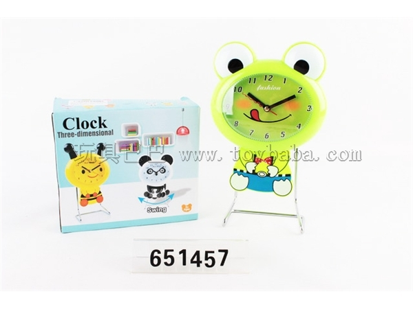 Cartoon frog swing iron stand clock