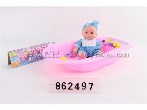 8-inch plastic lined doll with bathtub