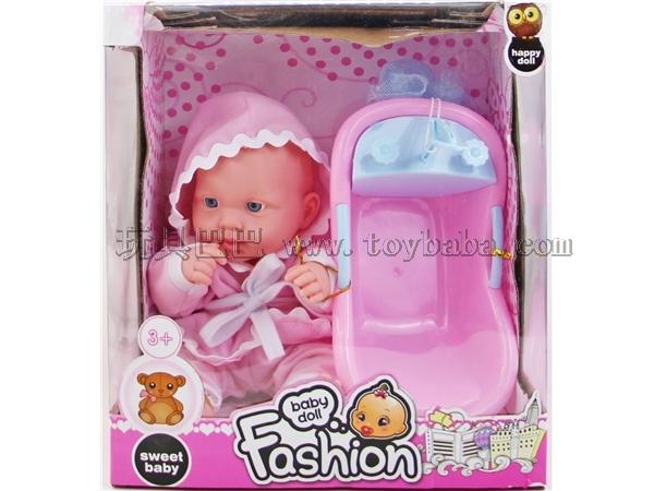 Enamel doll with IC + bathtub