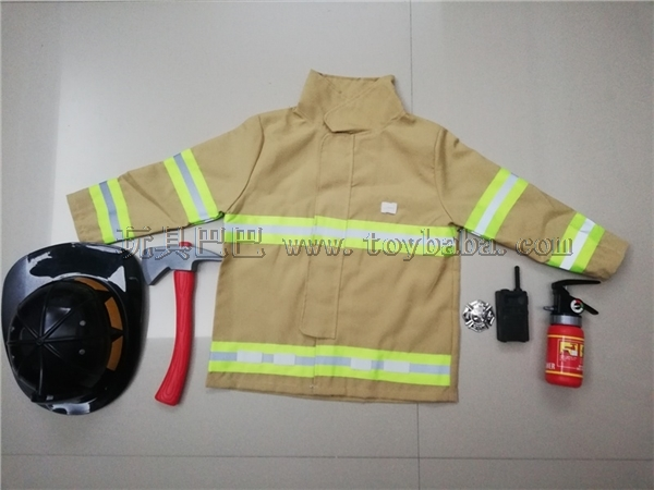 Long sleeved fire suit with black fire hat (yellow)