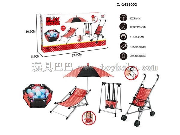 Hot selling children's toy trolleys with dolls, plastic trolleys, swings, dining chairs, rocking chairs, beds, dolls wit