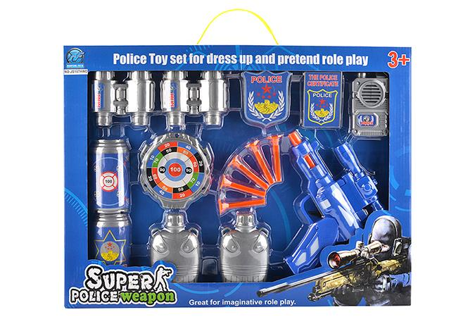 Police soft bullet gun with five soft play mark the intercom badge come