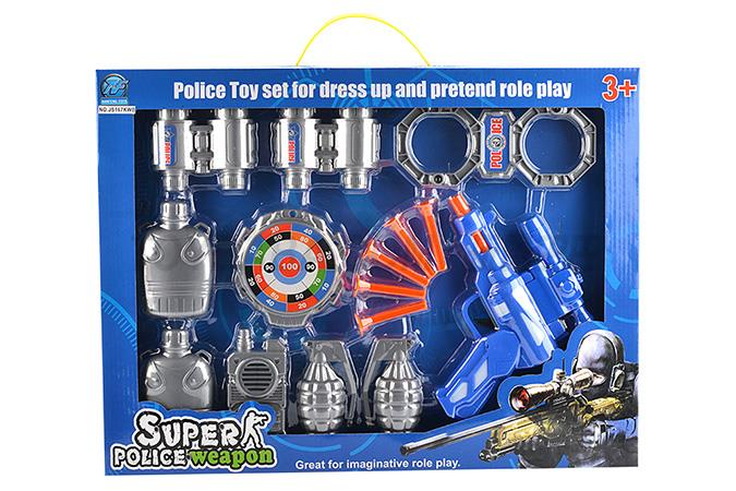 Police set of soft guns with five soft elastic cuffs intercom badge come