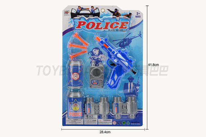 Police soft bullet gun with 3 soft bullet Coke bottles telescope walkie talkie