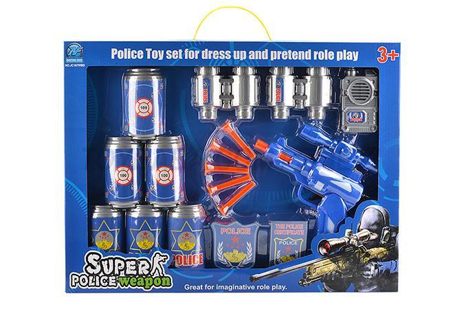 Police set of soft guns with five soft play the intercom coke bottle telescope