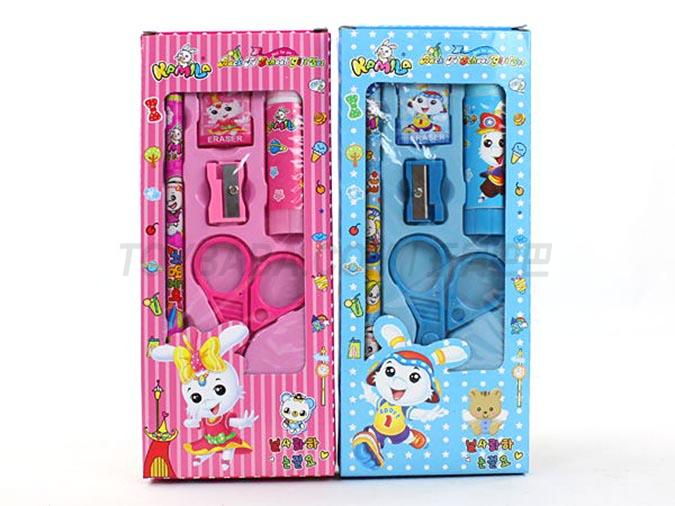 Korean Stationery Set lovely rabbit solid glue scissors and other combinations