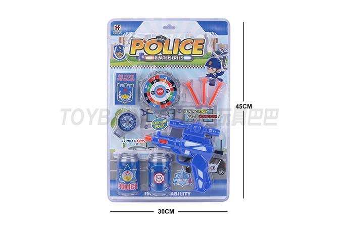 Police suit soft bullet gun with 3 soft bullet Coke bottles, target officer certificate compass
