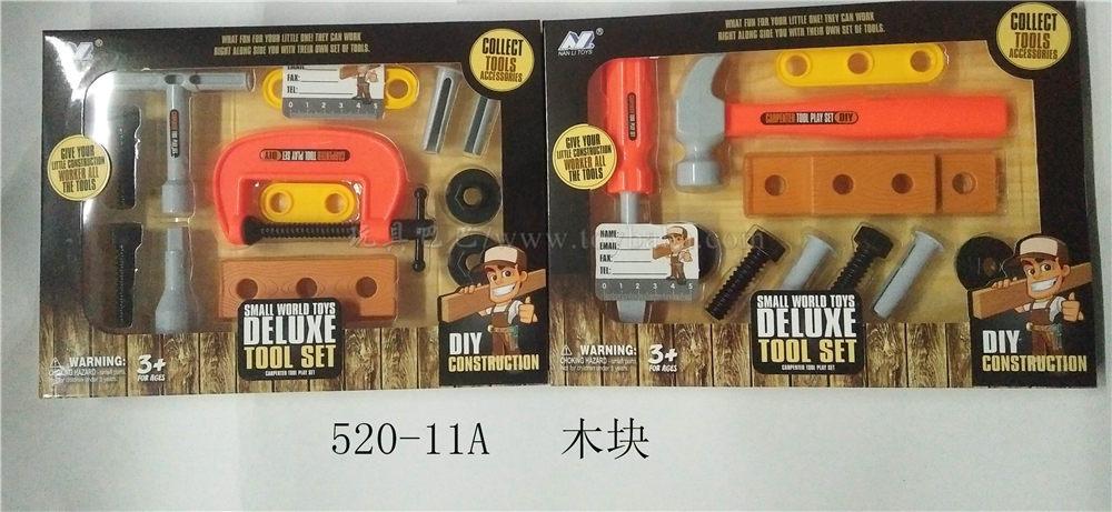 Wooden block tool set