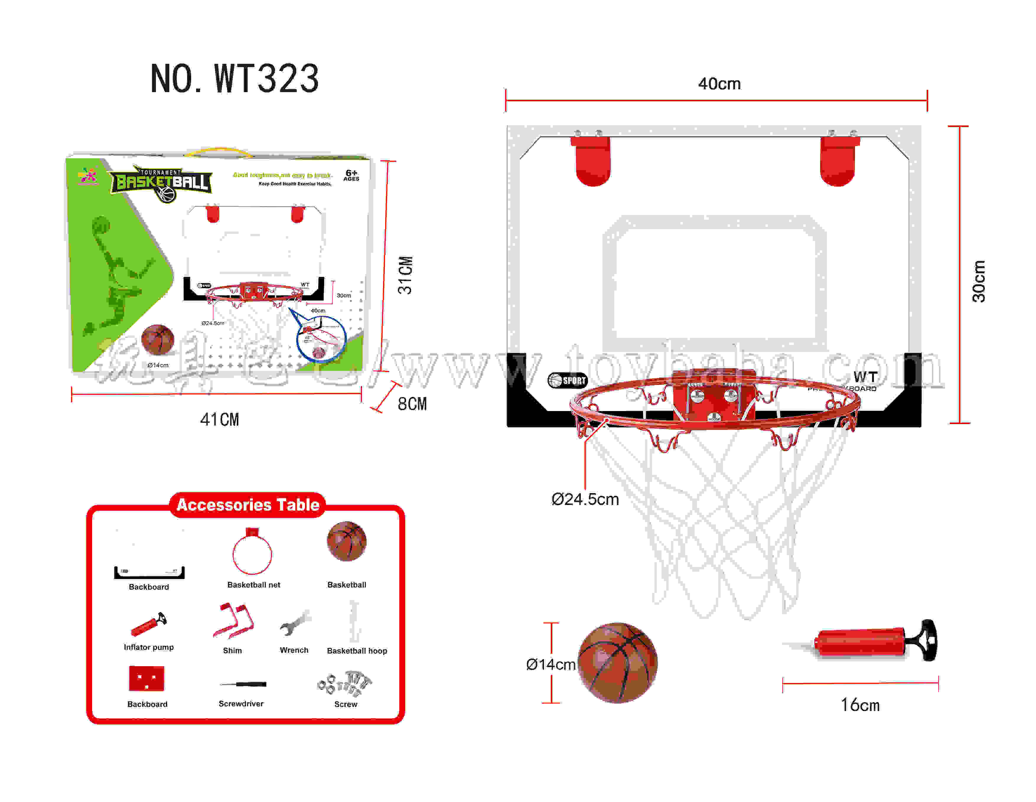 Hanging basketball board