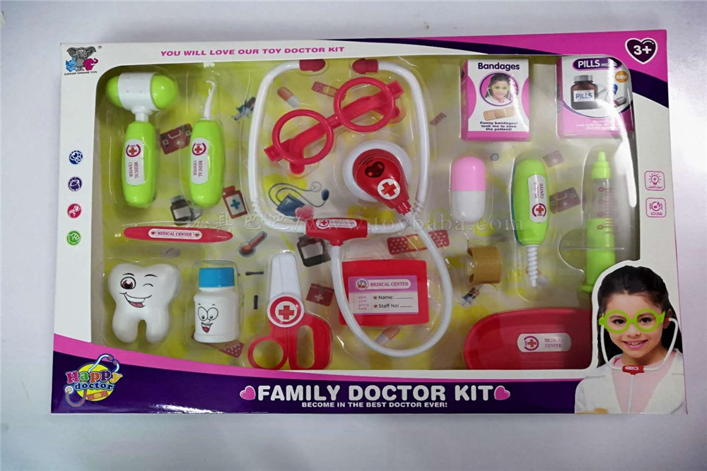 Medical tools women's assembled 16pcs medical tools toys family toys (light, sound, power package ag10 * 2)