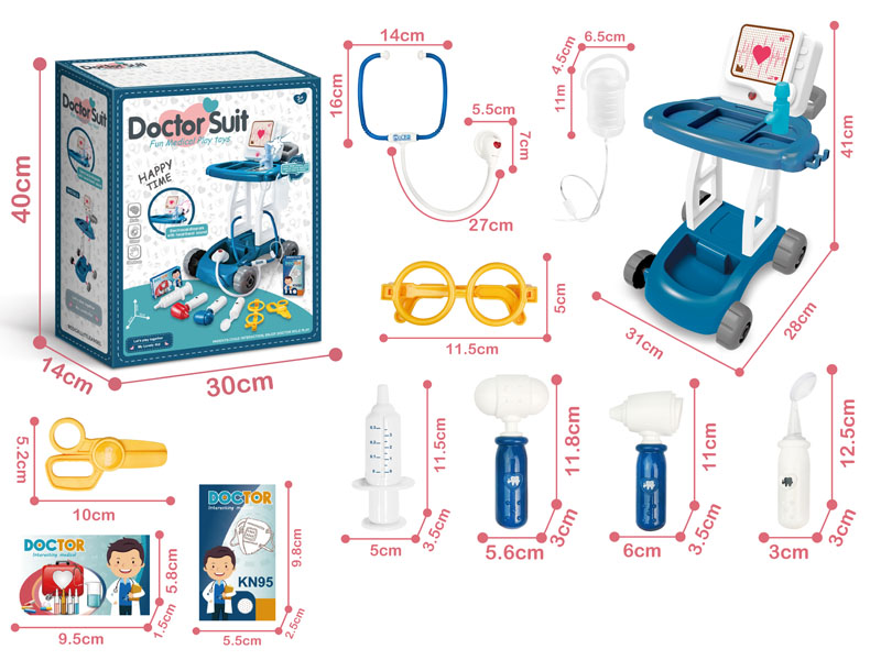 Trolley set with acousto-optic medical tools
